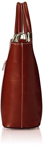CTM Sac femme classique, 36x27x12cm, cuir véritable 100% Made in Italy Marron (Marrone)