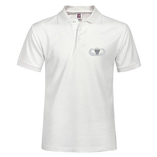 Stylisches Polo Shirt Outdoor Sport Kurze Shirt mit Kragen Airborne Abzeichen bedruckt XXL weiß Airborne Sweatshirt