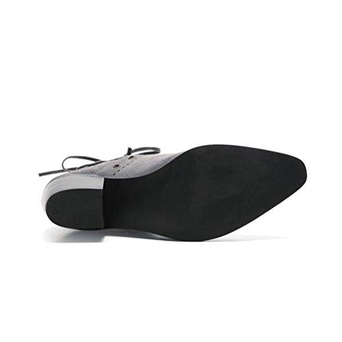 QPYC Scarpe donna scarpe spazzola punta laterale stivali vuota stivali mezza tacco ruvida con stivali neri stivali singoli stivali in pelle gray