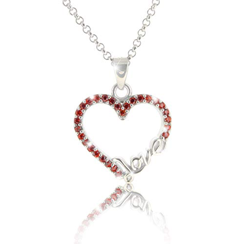PAVEL´S Halskette LOVE HERZ Silber 925 Kette mit roten Zirkonia inkl. einer hochwertigen Schmuckbox