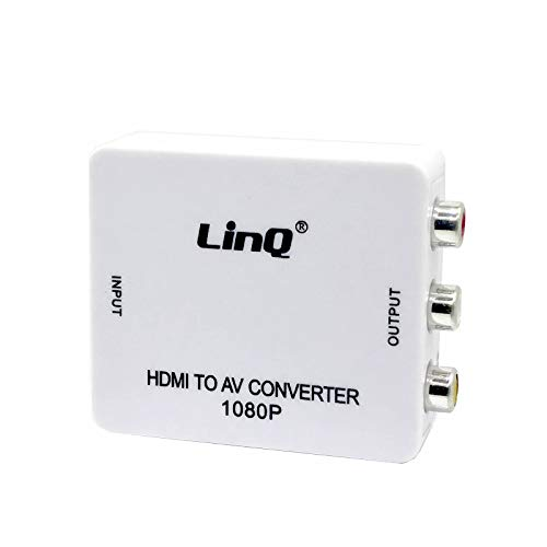 LinQ® HDMI zu AV Konverter, Wavlink 3RCA Composite HDMI auf AV Video Audio Converter Adapter Mini Box mit USB Charge Cable Support 1080p für PC Laptop PS4 PS3 TV STB VHS VCR Camera DVD Hdv-konverter
