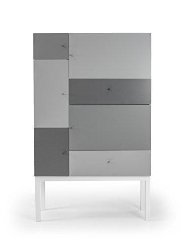 Hartholz-buffet (Tenzo 1970-412 Color Designer Schrank Holz, grau mix, 36 x 100 x 162 cm)