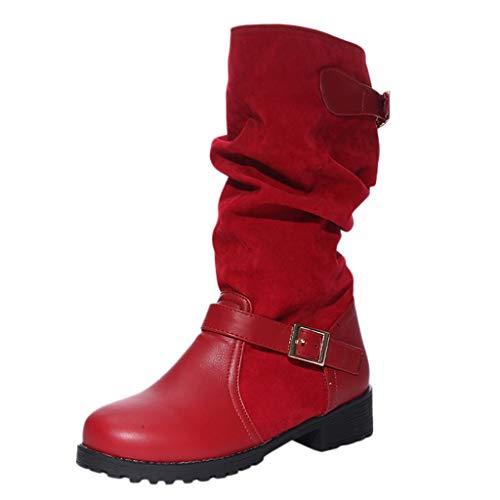 Fenverk Damen Stiefel, Boot, Stiefelette mit Reißverschluss Damen Klassische Stiefel,Frauen Boots,Schlüpf-Stiefel,Slip-On-Boot,Blockabsatz 4cm Schwarz, Rot, Braun 35-43(rot,37 EU)