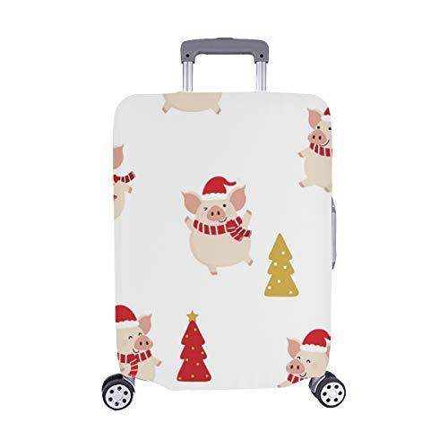 (Nur abdecken) Cute Schwein red Winter kostüm Weihnachten Muster Staubschutz Trolley Protector case Fall reisegepäck auf 28,5 x 20,5 cm beschützer Koffer (Schwein Kostüme Adult)
