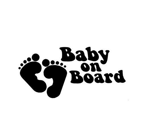 19 * 9 CM Baby An Bord Mit Baby Fuß Cartoon Sicherheit Zeichen Aufkleber Vinyl AutofensterAufkleber Schwarz/Silber/3PCS