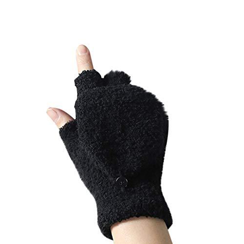 Marico Nahum Winter Wollmischung Fingerlose Handschuhe Halbfinger Cabrio Fäustlinge Damen Paar Coral Fleece Flipped Halbfinger Handschuhe Fäustlinge