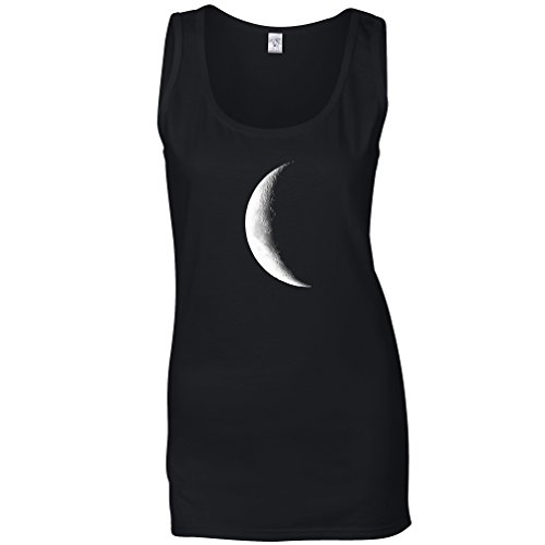 Tim And Ted Half Moon Galaxy Space Crescent Lunar Stars Astronomy Warning Phase Moonlight Daydream Moonshine Womens Ladies Vest Cool Funny Gift Present