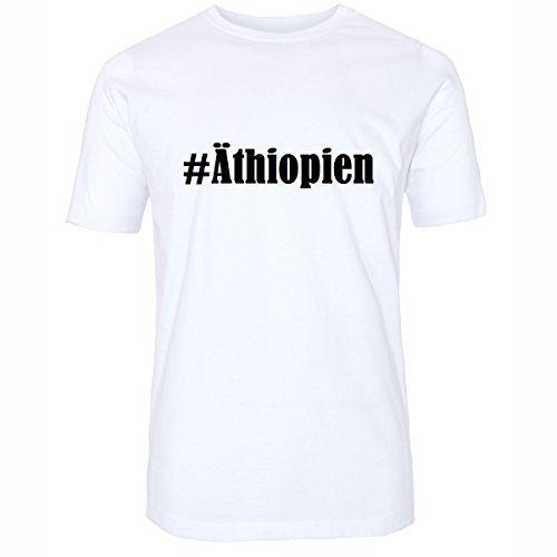 T-Shirt #Äthiopien Hashtag Raute für Damen Herren und Kinder ... in den Farben Schwarz und Weiss Weiß