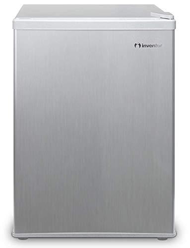 Inventor Mini-Kühlschrank 66L, Energieklasse A+, Lagervolumen 66L, Wechselbarer Türanschlag, Höhe 63,0 cm, Farbe: Silber, 2 Jahre Garantie