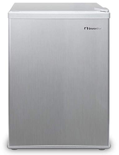 Inventor Mini-Kühlschrank 66L, Energieklasse A+, Lagervolumen 66L, Wechselbarer Türanschlag, Höhe 63,0 cm, Farbe: Silber