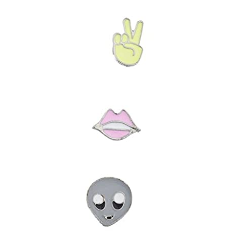 Lux Accessories Peace Sign Lips Alien Head Kitschy Novelty Pin Brooch Set (3PCS)