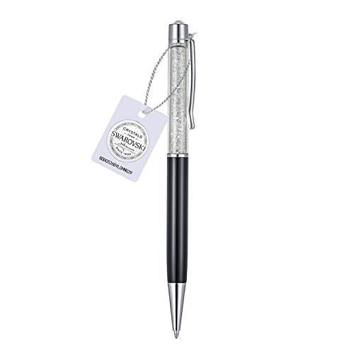 Veecans penna a sfera crystalline penna per firma elegante retrattile riempito di 200 scintillanti cristalli swarovski, forniture per cancelleria scuola ufficio, idea regalo per natale, nera (black)