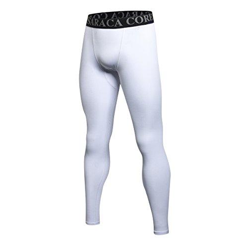 Saraca Core Männer lang Unterhose Unterwäsche Strumpfhose Herren Kompressions Leggings Pants Hosen(Weiß, L)