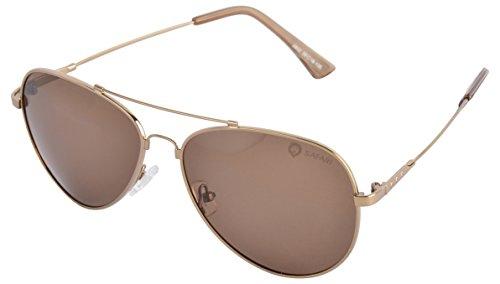 SAFARI Rimmed Aviator Unisex Sunglasses (2802PL-BRZ  56 mm  Brown)