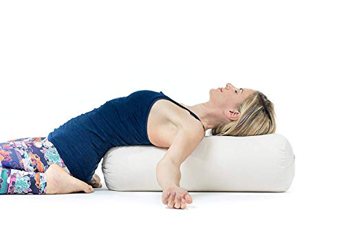 Certificado Gots Bolster Yoga Algodon Lotuscrafts Bolster Yoga Rodillo para Yin Yoga /Ø24 cm Rulo Pilates o Yoga Relleno de Espelta Cubierta en Algodon Lavable- Cojin Yoga Rodilla