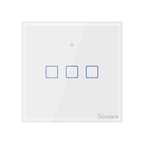 SONOFF T1EU3C Intelligenter kabelloser HF-WLAN-Wandlichtsteuerschalter, 3-Kanal Schalter vom 86er Typ für Automatisierungslösungen in der intelligenten Haustechnik, funktioniert mit Alexa, Google Home