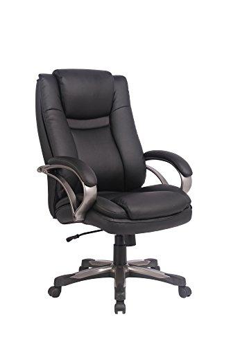 CAVADORE Chefsessel BUD / Bürostuhl bis 150 kg mit Wippmechanik und Härtegradeinstellung / Kunststoff pulverbeschichtet / Bezug Lederimitat Schwarz / 69 x 123 x 70 cm (B x H x T)