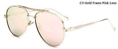 WDDYYBF Sonnenbrillen, Piloten Sonnenbrille Männer Reflektierende Gespiegelt Aviation Sonnenbrille Männlich DREI Strahlen Schattierungen Brillen Uv400 Rosa Linse