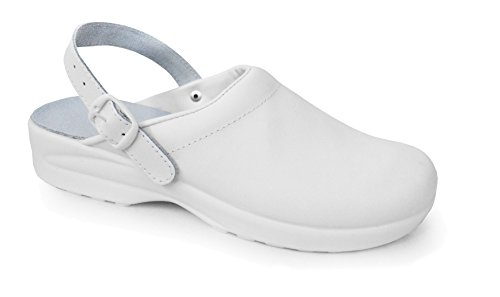 PLS Medical Soldini Comfort Clog Klassische italienische Lederpflege Clog für Healthcare Professionals (EU 41, White)