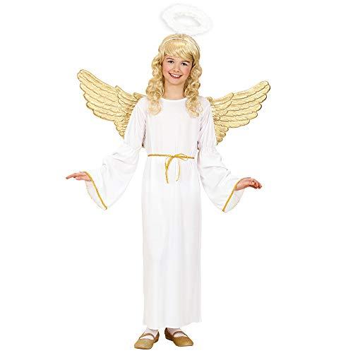 Kostüm Heiligenschein Engel Kind Mit - Widmann 02547 - Engel Kostüm (Kleid, Gürtel, Heiligenschein), Größe 140, 8-10 Jahre, Engelskostüm, Engelkostüm für Kinder