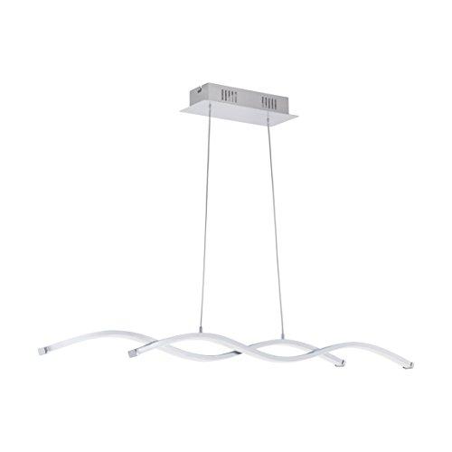 EGLO Hängeleuchte, Aluminium, Integriert, Chrom, Weiß, 87 x 8 x 120 cm