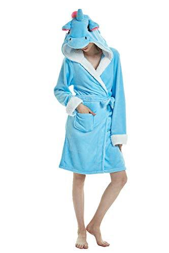 Für Erwachsene Blau Pyjama Kostüm - Mystery&Melody Erwachsene Blaue Einhorn Bademantel Tiere