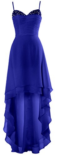 MACloth Gorgeous High Low Prom Dress Straps Wedding Party Cocktail Formal Gown Royal Blue