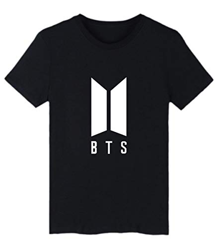 SIMYJOY Pareja Bangtan Boys Fans Camiseta BTS KPOP Loveyourself Her T-Shirt Hip Pop Cool Manga Corta para Hombre Mujer Adolescentes Negro 2XS