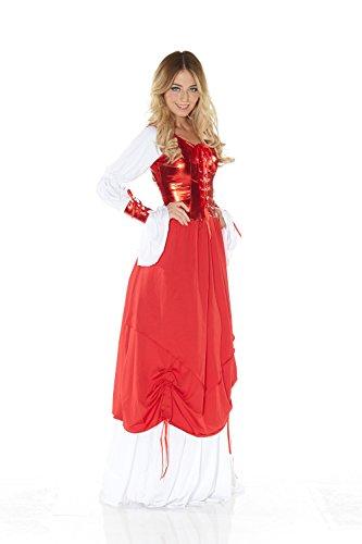 Weiße Und Rote Königin Kostüm - Kostüm BURGFRÄULEIN ROT/WEISS GLÄNZEND Gr. 36/38