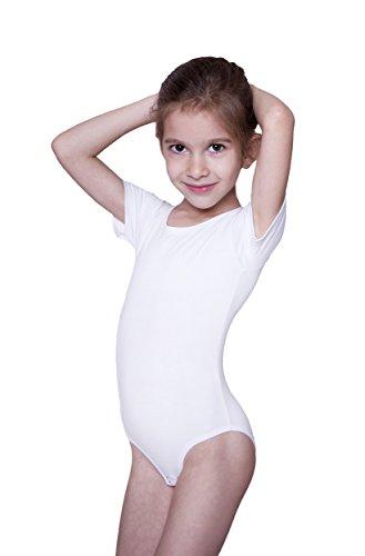 (Evoni Kinder Kurzarm-Body mit Rundhals-Ausschnitt in Weiß mit Druckknöpfen im Schritt | Gr.104 | angenehme Kinderwäsche aus Baumwolle | Pflegeleicht & komfortabel | Turnbody Gymnastikanzug)