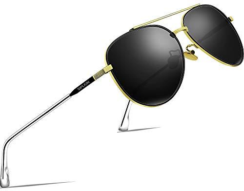SIPLION Unisex Polarisiert Sonnenbrille Herren Damen Pilotenbrille Fahrerbrille Verspiegelt UV400 7077 Black