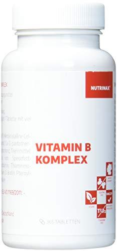 Vitamin B Komplex hochdosiert - 365 Tabletten Jahresvorrat - alle 8 B-Vitamine in einer Tablette - Vitamin B1,B2,B6,B12,Folsäure,Biotin,Niacin,Pantothensäure - Made in Germany - vegan(365 Tabletten) -