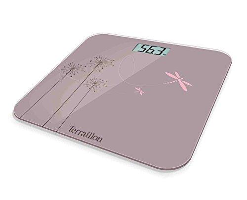 Terraillon Pèse Personne Électronique, Ultra-Plat, Marche/Arrêt Automatique, Grand Écran LCD, 150kg, Eden, Rose