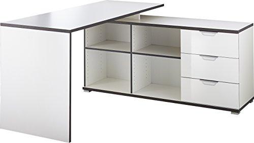 Germania 4081-84 Schreibtisch mit integriertem Sideboard in Weiß, 145 x 76 x 145 cm (BxHxT)