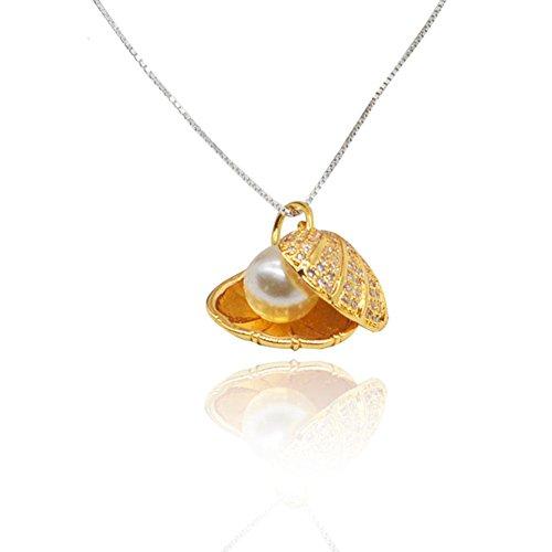 MEILIArtículos de joyería de perlas de concha de perla colgante de vieira Micro Pave