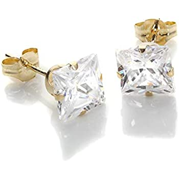 9069ba66d9ea6 9ct White Gold Martini Claw 5mm Square Black Crystal CZ Ear Stud ...