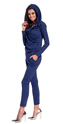 Lemoniade eleganter Jumpsuit mit Langen Ärmeln, elegantem Schnitt und ausgefallenen Details (S (36), Modell 3 Navy)