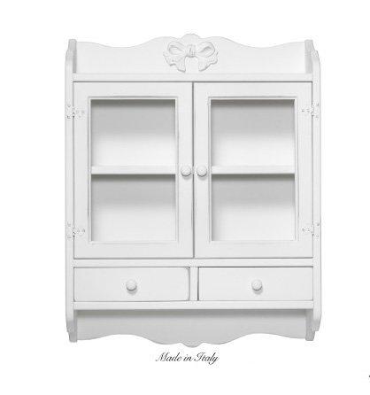 Vetrina una mensola e due cassettini in legno stile vintage disponibile in diverse rifiniture L'ARTE DI NACCHI 7397F/BG