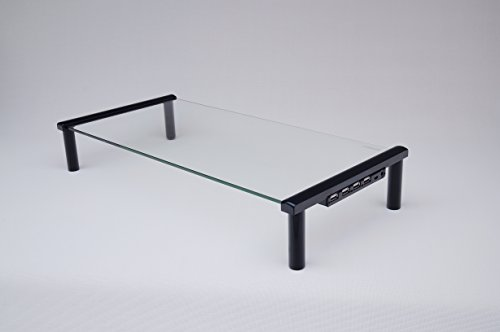 TekEssentials Glass Monitor Riser Desk/Table Stand with