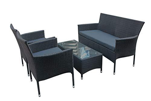Wholesaler GmbH Polyrattan Sitzgruppe 4tlg. Sofa, Tisch und 2 Stühle Balkonset Gartenmöbel Set
