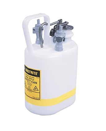 Justrite 12160 1 Gallon, 3/8 Tubing, 5 1/4 x 12 3/4 Size NM HPLC Prefabricated Quick-Disconnect Oval Safety Disposal Cans With 2 Polypropylene Fittings