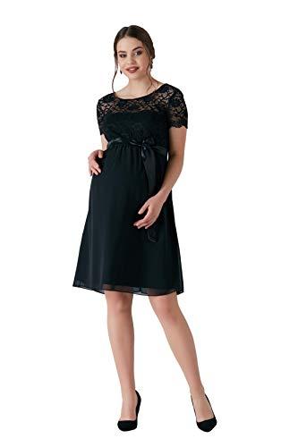 M.M.C. Delight Umstands-Kleid mit Spitze - Rückenausschnitt Schwangerschaftskleid Chiffon-Spitzenkleid Abendkleid Cocktailkleid für Hochzeit Standesamt - Knielang (Schwarz, 42) Chiffon-hochzeits-kleid