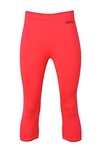 Eono Essentials - Mallas de yoga pirata elásticas para mujer con cintura media (rosa, S)