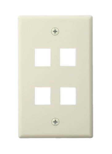 Leviton 41080-4TL QuickPort Wallplate For Large Connectors, Single Gang, 4-Port, Light Almond by Leviton Leviton Quickport Single
