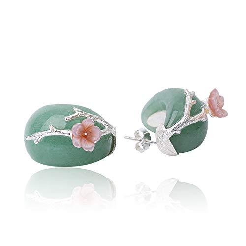 Lotus Fun - Orecchini in argento Sterling 925 a forma di fiore di prugna, con cristallo rosa naturale, fatti a mano, gioiello unico per donne e ragazze