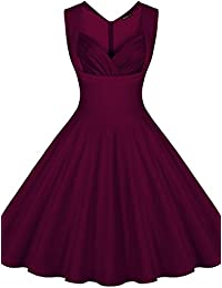 Miusol® Damen Abendkleider Vintage Cocktailkleid 1950er Retro Polka Dots Sommer Ärmellos kleid Petticoat Faltenrock Gr.S-XXL