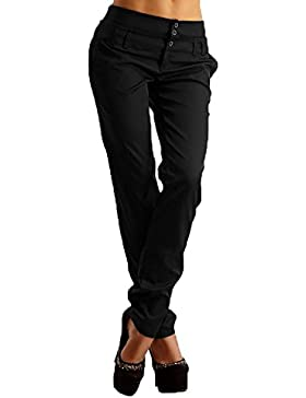 [Patrocinado]StyleDome Vaqueros Mujer Pantalon Pantalones Largos Botones Oficina