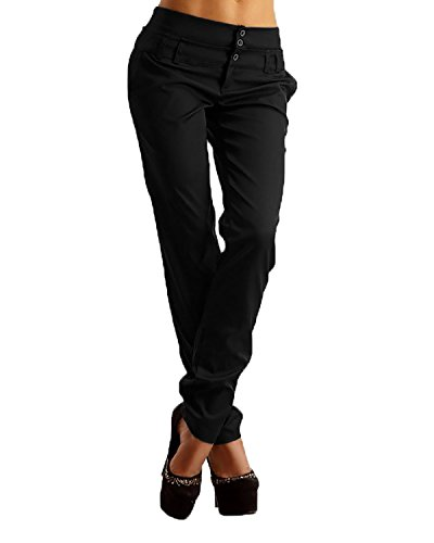 StyleDome Mujer Pantalones Largos Moda Elegantes Botones Oficina Negro EU 44