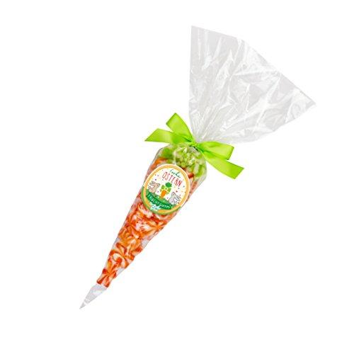 Süße Möhre, cremig süße Sahne Bärchen mit Orangen & Apfel Geschmack, verpackt in einer hübschen Zuckertüte, 190 Gramm, süße Osterfreude, Frohe Ostern