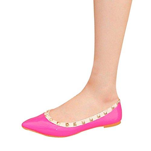 Minetom Donna Elegante Rivetto Leather Slip On Flats Pompe Scarpe Basse Piatte Rose